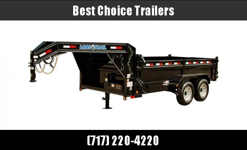 "2020 Load Trail 7x16' Gooseneck Dump Trailer 14000# GVW * 3-WAY GATE * 8"" I-BEAM FRAME * TARP KIT * SCISSOR HOIST * 6"" TUBE BED FRAME * 110V CHARGER * ADJUSTABLE COUPLER * 10GA 2PC SIDES/FLOOR * INTEGRATED KEYWAY * POWDER PRIMER * DUAL12K JACKS"