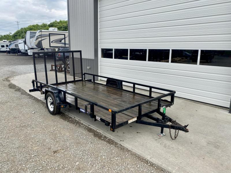 """USED 2015 Sure-Trac 7x14' Tube Top Utility Landscape Trailer 2990# GVW * 2"""" TUBE TOP RAIL * 2X2"""" TUBE GATE C/M + FOLD FLAT * TOOLESS GATE REMOVAL * SPARE MOUNT * PROTECTED WIRING * SET BACK JACK * TRIPLE TUBE TONGUE * STAKE POCKETS * BULLET LED"""