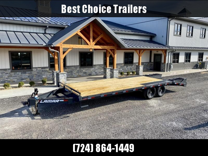 """2021 Lamar 102x24' Beavertail Deckover Trailer 14000# GVW * FLIPOVER RAMPS + SPRING ASSIST  * CHARCOAL * TOOL TRAY * HD COUPLER * I-BEAM FRAME * 16"""" O.C. C/M * RUBRAIL/STAKE POCKETS/PIPE SPOOLS * CHANNEL SIDE RAIL * 4X8"""" TUBE BUMPER"""