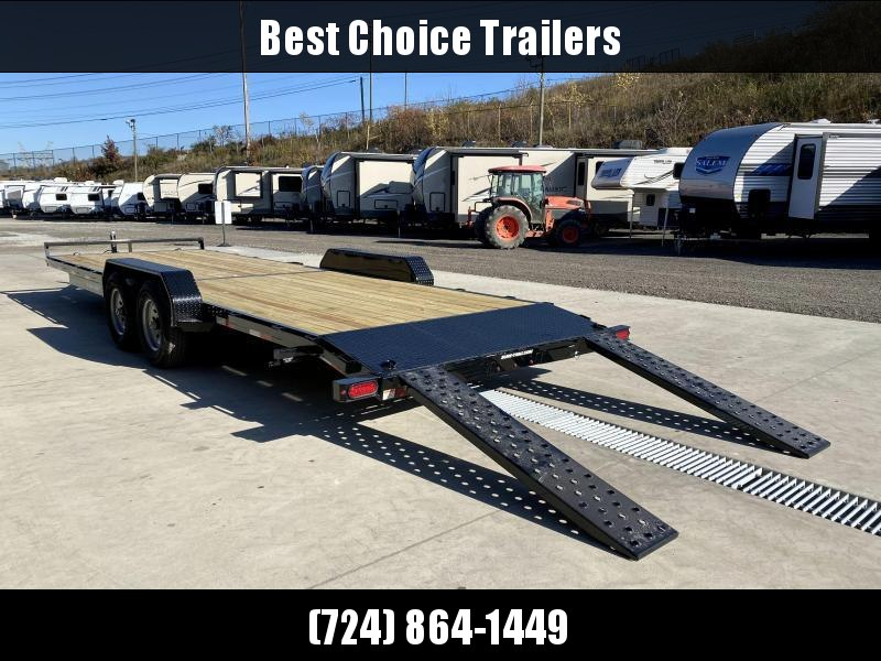 2021 Sure-Trac 7x24' Wood Deck Car Hauler 9900# GVW * REAR SLIDE OUT PUNCH PLATE FINGERJOINTED RAMPS * DIAMOND PLATE FENDERS * SEALED WIRING HARNESS * SET BACK JACK * STAKE POCKETS/D-RINGS * DIAMOND PLATE DOVETAIL