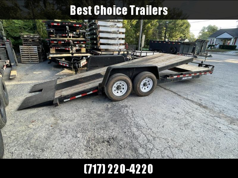 2017 Sure Trac 7x22' Gravity Tilt Equipment Trailer 14000# GVW * 18+4' SPLIT DECK * DROP AXLES * LOW LOAD ANGLE * ADJUSTABLE COUPLER