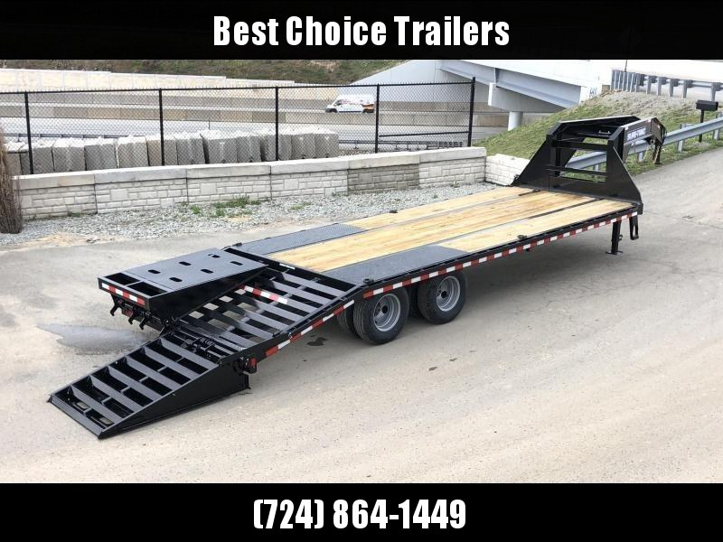 """2020 Sure-Trac 102x25' Gooseneck Beavertail Deckover Trailer 25900# GVW * FULL WIDTH RAMPS (STAND UP OR FLIPOVER) * 12000# DEXTER AXLES * 12"""" I-BEAM * PIERCED FRAME * RUBRAIL/STAKE POCKETS/PIPE SPOOLS/10 D-RINGS * CROSS TRAC BRACING"""
