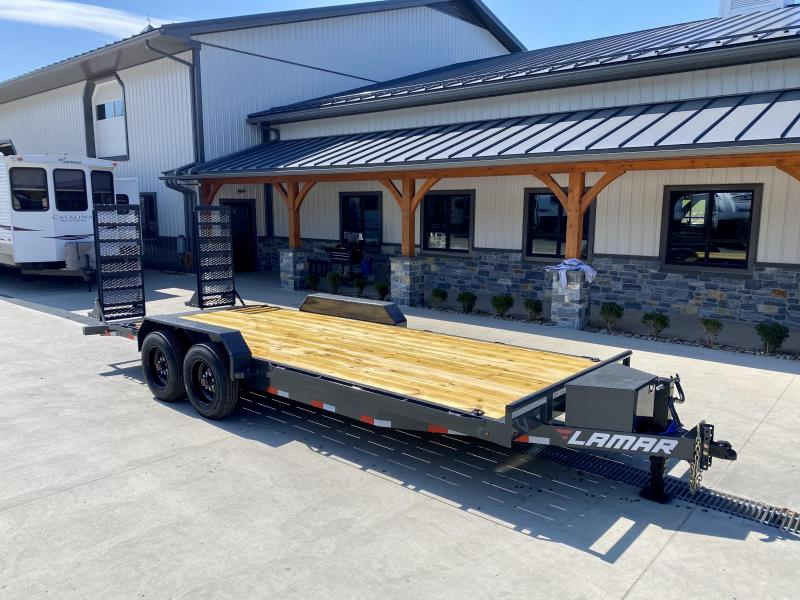 """2021 Lamar 7x20' Equipment Trailer 16000# GVW * 8000# AXLES * 17.5"""" TIRES * TOOLBOX * DELUXE OVERWIDTH RAMPS W/ HEAVY MESH * CHARCOAL POWDERCOAT * RUBRAIL/STAKE POCKETS/PIPE SPOOLS/D-RINGS * REM FENDERS * 12K JACK * CAST COUPLER"""