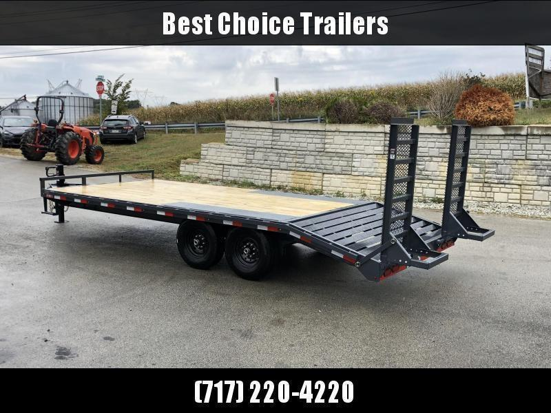 """2021 Lamar 102x22' Beavertail Deckover Trailer 14000# GVW * STAND UP RAMPS + SPRING ASSIST  * CHARCOAL * TOOL TRAY * HD COUPLER * I-BEAM FRAME * 16"""" O.C. C/M * RUBRAIL/STAKE POCKETS/PIPE SPOOLS * CHANNEL SIDE RAIL * 4X8"""" TUBE BUMPER"""