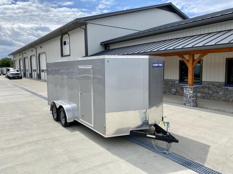 2020 Sure-Trac 7X16' Enclosed Cargo Trailer 7000# GVW * SILVER FROST EXTERIOR * V-NOSE * RAMP DOOR * RV DOOR * 0.30 SEMI-SCREWLESS EXTERIOR * TUBE STUDS