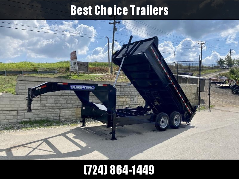 "USED 2019 Sure-Trac 7x14' 16000# Low Profile HD GOOSENECK Dump Trailer * TELESCOPIC HOIST * 8000# AXLE UPGRADE * SPARE TIRE * 17.5"" RUBBER"
