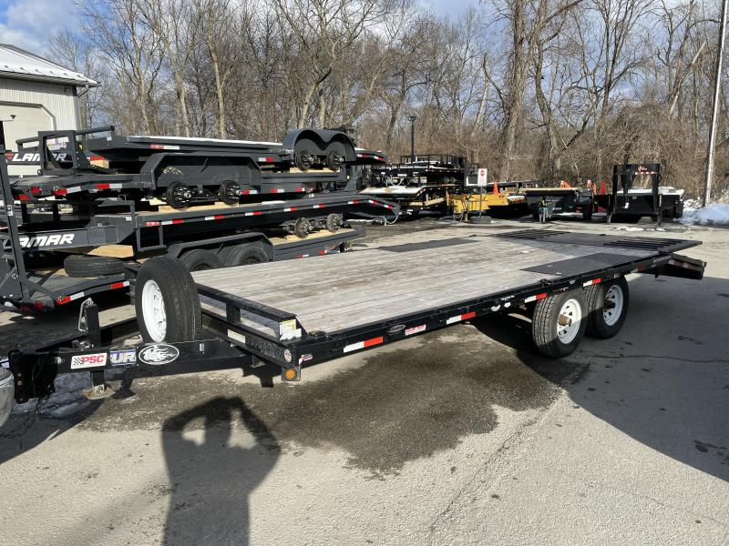 USED 2016 Sure-Trac 102x20' Beavertail Flatbed Trailer * POP UP DOVETAIL * SPARE TIRE * SLIDE IN RAMPS * RUBRAIL/STAKE POCKETS/D-RINGS * ADJUSTABLE COUPLER