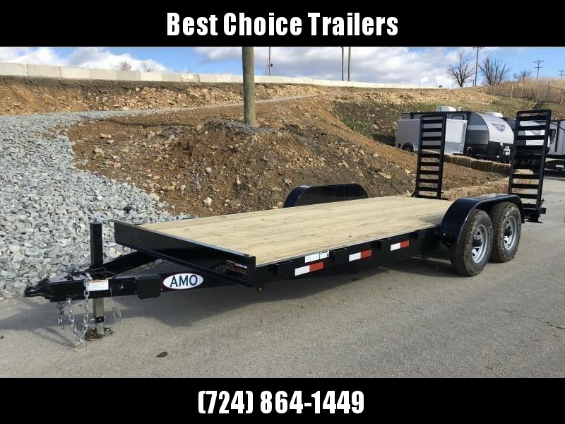 """2021 AMO 7x18' Equipment Trailer 9990# GVW * ALL LED LIGHTS * STAND UP RAMPS * BEAVERTAIL * STACKED 5"""" CHANNEL TONGUE/FRAME * DROP LEG JACK * REMOVABLE FENDERS"""