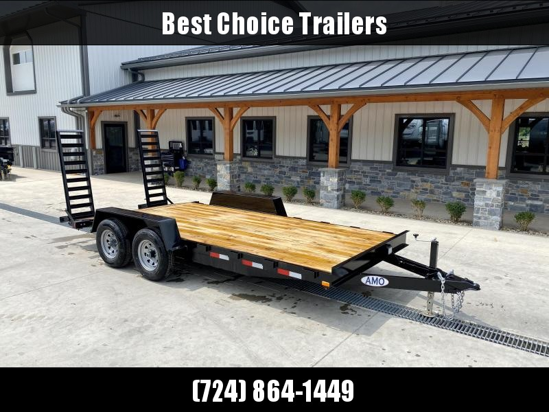 """2022 AMO 7x18' Equipment Trailer 9990# GVW * ALL LED LIGHTS * STAND UP RAMPS * BEAVERTAIL * STACKED 5"""" CHANNEL TONGUE/FRAME * DROP LEG JACK * REMOVABLE FENDERS"""