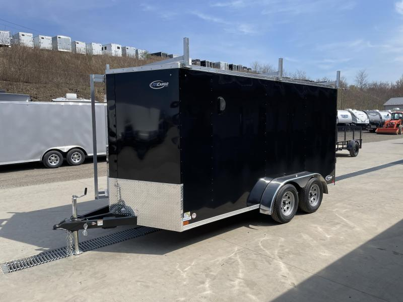 "2021 ITI Cargo 7x14' Enclosed Cargo Trailer 7000# GVW * BLACK EXTERIOR * WALK ON ROOF * FRONT LADDER * 3 LADDER RACKS * .030 SEMI-SCREWLESS * 1 PC ROOF * 6'6"" INTERIOR * 3/8"" WALLS * 3/4"" FLOOR * PLYWOOD * 24"" STONEGUARD * HIGH GLOSS PAINTED FRAME * RV DO"
