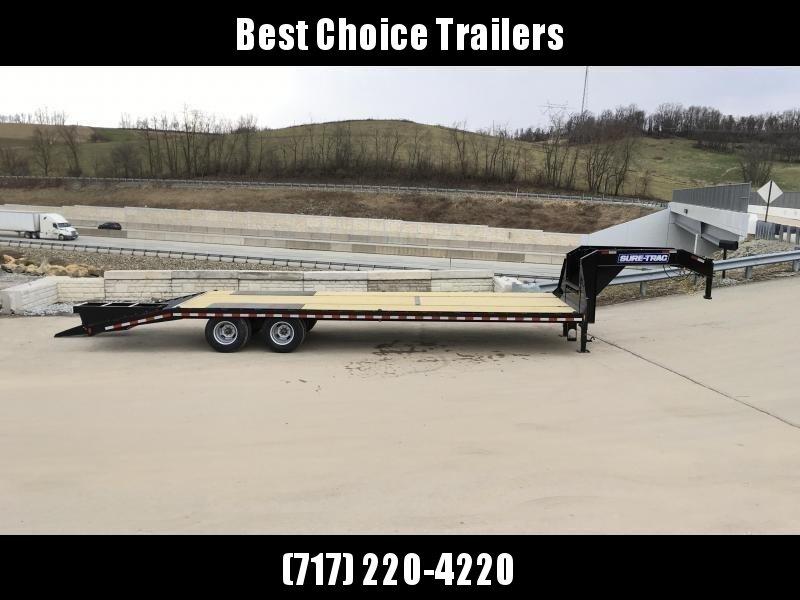 "USED 2019 Sure-Trac 102x25' Gooseneck Beavertail Deckover Trailer 22500# GVW * DEXTER AXLES * FLIPOVER RAMPS + SPRING ASSIST * 12"" I-BEAM * PIERCED FRAME * RUBRAIL/STAKE POCKETS/PIPE SPOOLS/10 D-RINGS * CROSS TRAC BRACING * HD BEAVERTAIL"