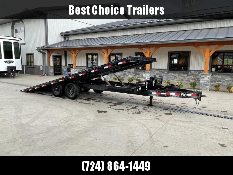 USED 2017 PJ 102x22' Power TIlt Deckover Trailer 14000# GVW * NEW RUBBER * WINCH PLATE * CHAIN TRAY * DUAL PISTON * POWER UP/POWER DOWN * SOLAR CHARGER