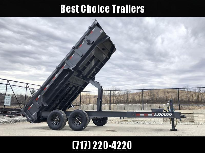 "2021 Lamar 7x16' Dump Trailer 14000# GVW * HYDRAULIC JACK * OIL BATH HUBS * REAR JACKSTANDS * 14-PLY TIRES * 12"" O.C. C/M * 7GA FLOOR  * TARP KIT * SCISSOR HOIST * 12K JACK * CHARCOAL * RIGID RAILS * HD COUPLER * NESTLED I-BEAM FRAME 28"" H * 3-WAY GATE"