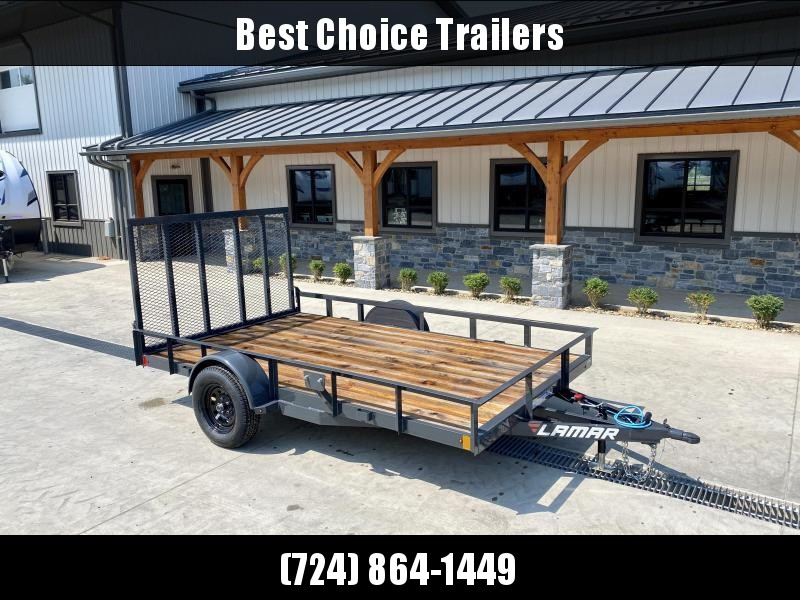 2021 Lamar 7x14' Utility Landscape Trailer 2990# GVW * CHANNEL FRAME * SPARE TIRE MOUNT * CAST COUPLER * SWIVEL JACK * COLD WEATHER HARNESS * STAKE POCKETS * LAY FLAT/TUBE GATE W/SPRING ASSIST * LED LIGHTS