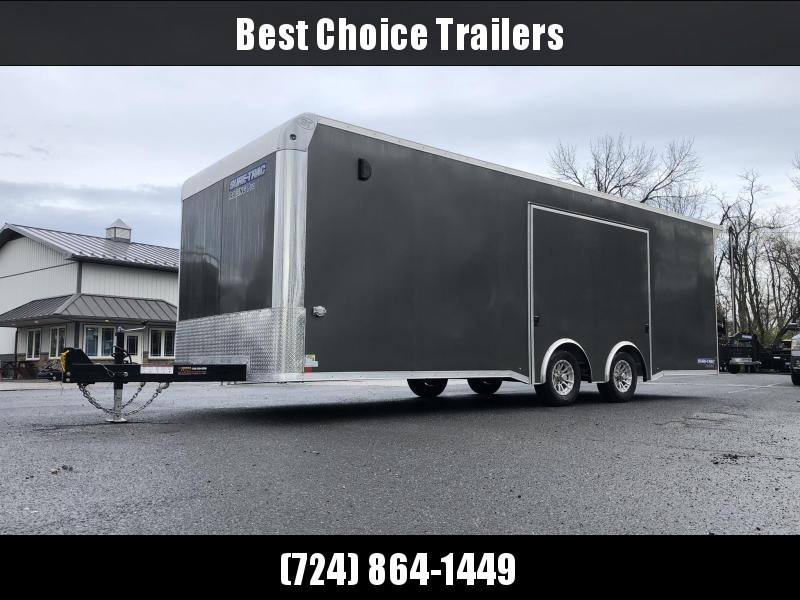 2021 Sure Trac 8.5x24' Racing Pro Enclosed Car Hauler Trailer 9900# GVW * LOADED * CHARCOAL * NUDO * VINYL WALLS/CEILING * CABINETS * TORSION * BULLNOSE * FULL ESCAPE DOOR