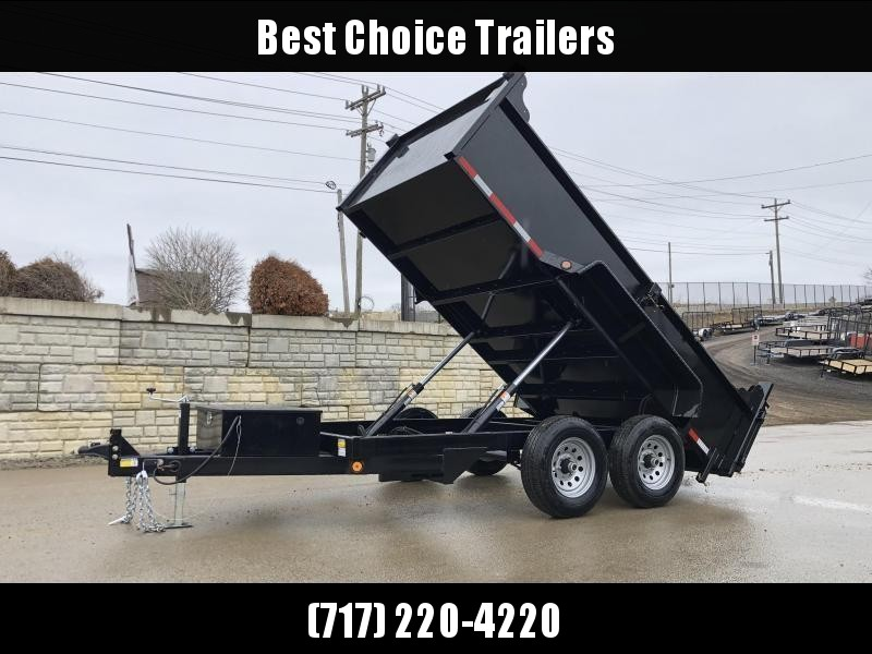 2021 QSA 6x12' Low Profile Dump Trailer 9850# GVW * RAMPS * 2' SIDES * DUAL PISTON * OVERSIZE TOOLBOX * DROP LEG JACK * FRONT/REAR BULKHEAD