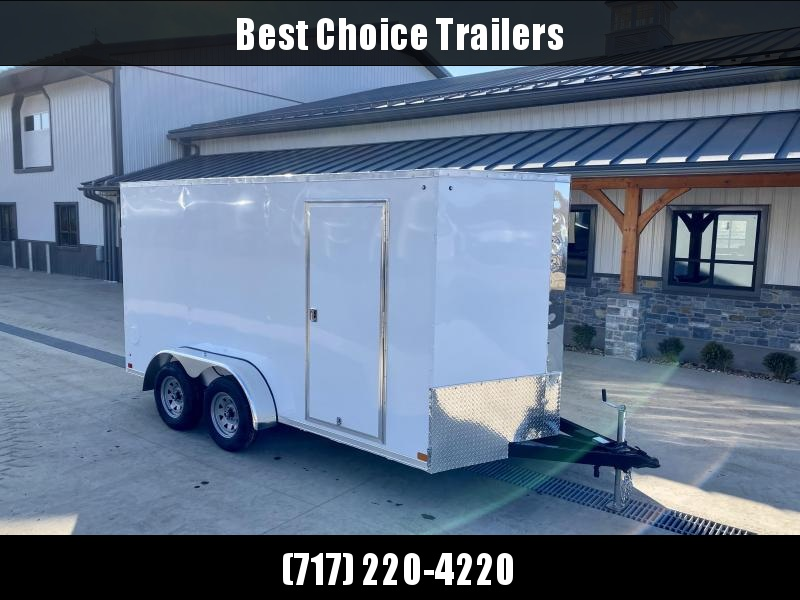 """2021 ITI Cargo 7x14' Enclosed Cargo Trailer 7000# GVW * WHITE EXTERIOR * .030 SEMI-SCREWLESS * 1 PC ROOF * 6'6"""" INTERIOR * 3/8"""" WALLS * 3/4"""" FLOOR * PLYWOOD * 24"""" STONEGUARD * HIGH GLOSS PAINTED FRAME * RV DOOR * CLEARANCE"""