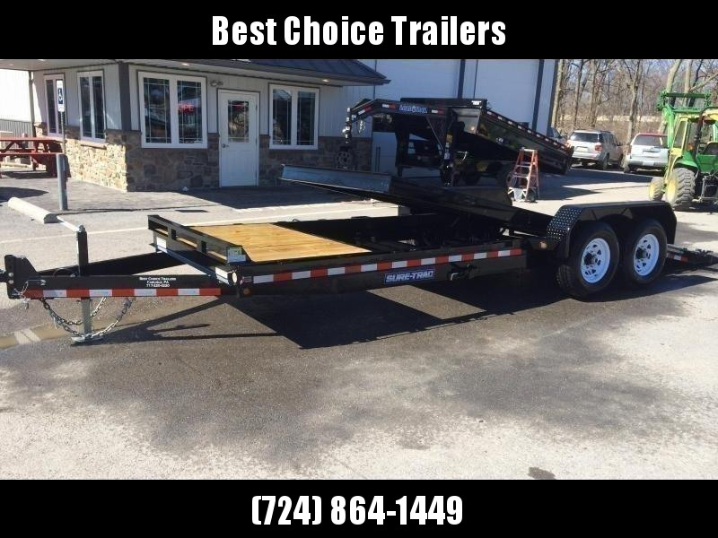 2021 Sure-Trac 7x22' Gravity Tilt Equipment Trailer 14000# GVW * SPLIT DECK 18+4' * 12K JACK * OAK DECK UPGRADE IMPROVES TRACTION & DURABILITY * DROP AXLES/LOW LOAD ANGLE * RUBRAIL/STAKE POCKETS/D-RINGS * HD FENDERS * ADJUSTABLE CAST COUPLER * SPARE MOUNT
