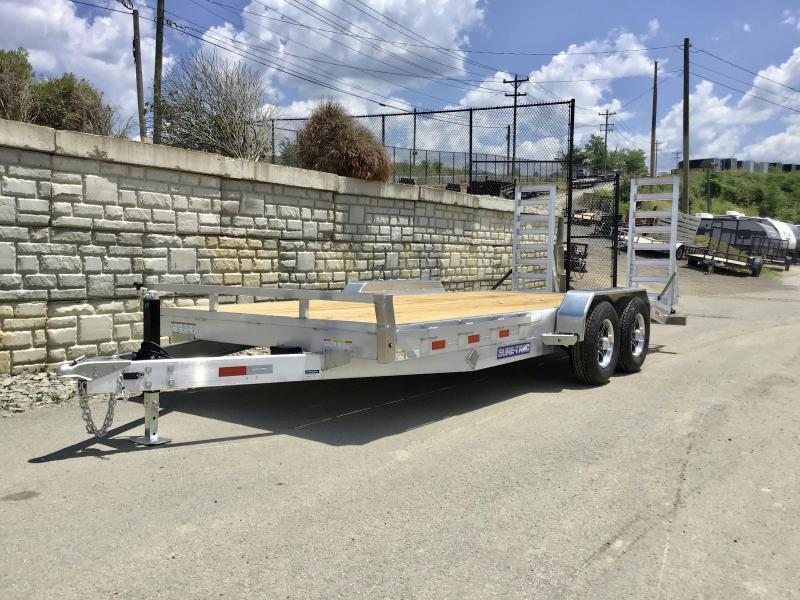 2021 Sure-Trac 7x20' Aluminum Equipment Trailer 14000# GVW * ALUMINUM STAND UP RAMPS * ALUMINUM WHEELS * SPARE TIRE MOUNT * STAKE POCKETS/RUBRAIL * SET BACK DROP LEG JACK * REMOVABLE FENDERS