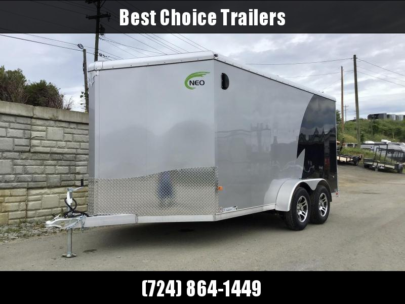 "2021 Neo 7x16' NAMR Aluminum Enclosed Motorcycle Trailer * VINYL WALLS * ALUMINUM WHEELS * +6"" HEIGHT * BLACK+SILVER * SPORT TIE DOWN SYSTEM"