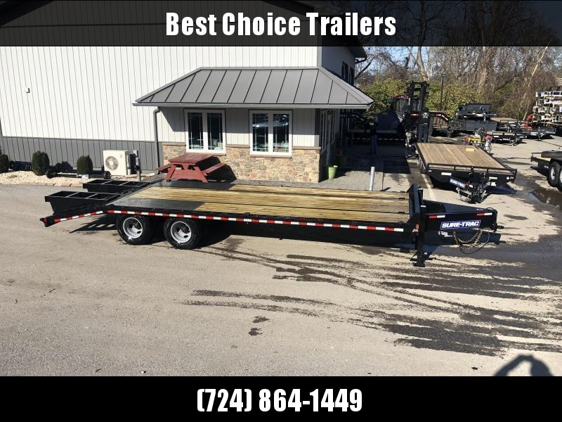 "2021 Sure-Trac 102x25' HD Beavertail Deckover Trailer 25900# GVW * DEXTER 12K AXLES * FULL WIDTH RAMPS * DUAL JACKS * INTEGRATED TOOLBOX * FLIPOVER RAMPS + SPRING ASSIST * 12"" I-BEAM * PIERCED FRAME * RUBRAIL/STAKE POCKETS/PIPE SPOOLS/10 D-RINGS * CROSS T"