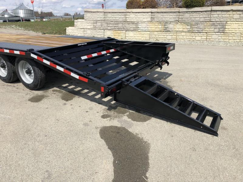 """2019 Sure-Trac 102x25' HD Beavertail Deckover Trailer 17600# GVW * 8000# AXLES * 17.5"""" 16-PLY TIRES * 3 3/8"""" BRAKES * FLIPOVER RAMPS + SPRING ASSIST * 12"""" I-BEAM * PIERCED FRAME * RUBRAIL/STAKE POCKETS/PIPE SPOOLS/10 D-RINGS * CROSS TRAC * CLEARANCE"""