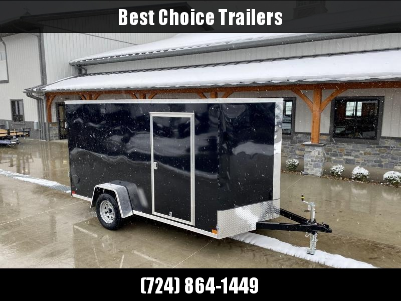 """2021 ITI Cargo 6x12' Enclosed Cargo Trailer 2990# GVW * SLANT V-NOSE * CHARCOAL EXTERIOR * .030 SEMI-SCREWLESS * 1 PC ROOF * 3/8"""" WALLS * 3/4"""" FLOOR * 16"""" STONEGUARD * HIGH GLOSS PAINTED FRAME"""
