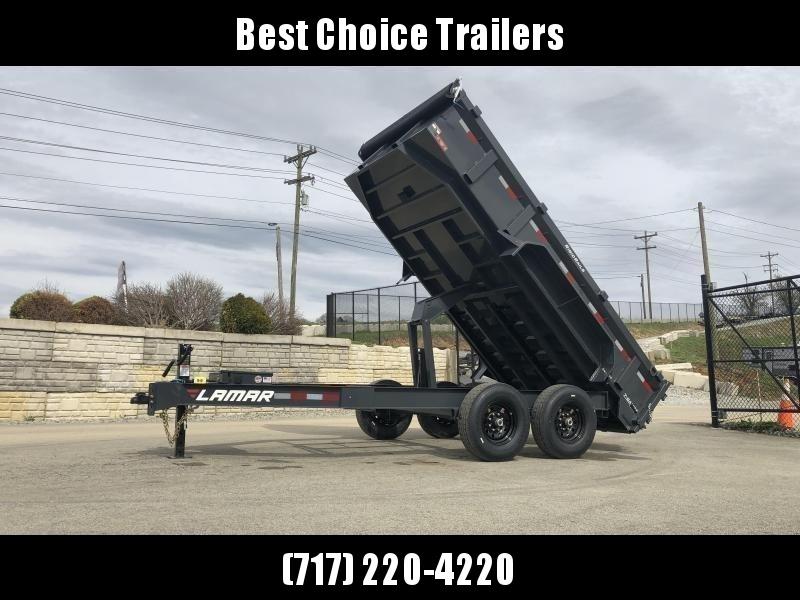 "2021 Lamar 7x14' Dump Trailer 14000# GVW * 7GA FLOOR * TARP KIT * UNDERMOUNT RAMPS * SCISSOR HOIST * 12K JACK * CHARCOAL * RIGID RAILS * HD COUPLER * NESTLED I-BEAM FRAME 28"" H * 3-WAY GATE * 12"" O.C. C/M * CLEARANCE"