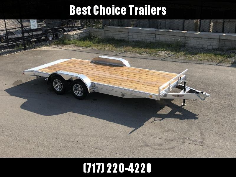 "2021 H and H 7x18' Aluminum Car Hauler Trailer 7000# GVW * HEAVY DUTY 6"" TONGUE/FRAME * EXTRUDED BEAVERTAIL * SET BACK JACK * ALUMINUM WHEELS * REMOVABLE FENDERS * CHANNEL C/M * RUBRAIL"