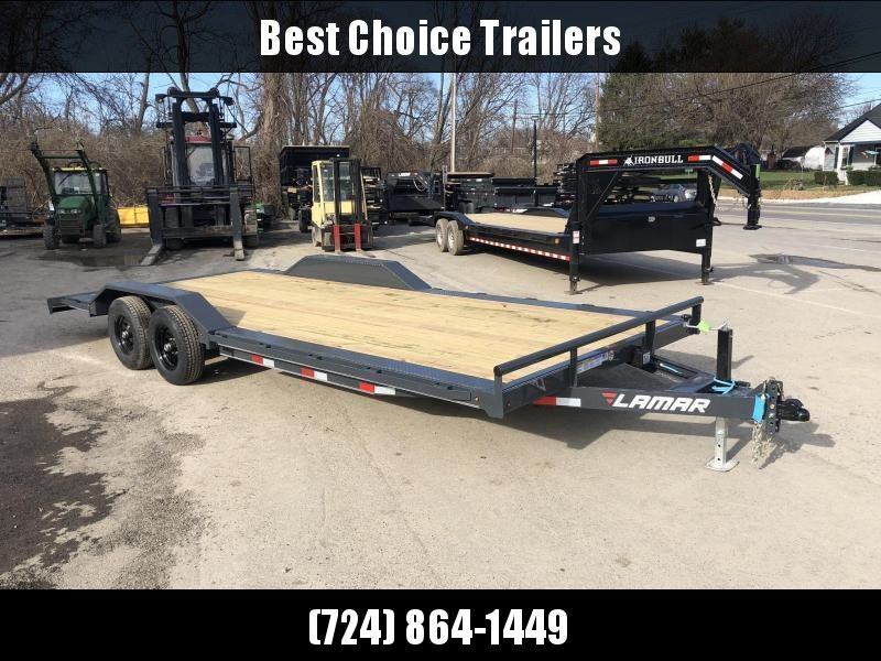 "2021 Lamar 102x22' Buggy Car Hauler Trailer 9990# GVW * 102"" DECK * DRIVE OVER FENDERS * CHARCOAL POWDERCOATING * 7K DROP LEG JACK * ADJUSTABLE COUPLER * RUBRAIL"