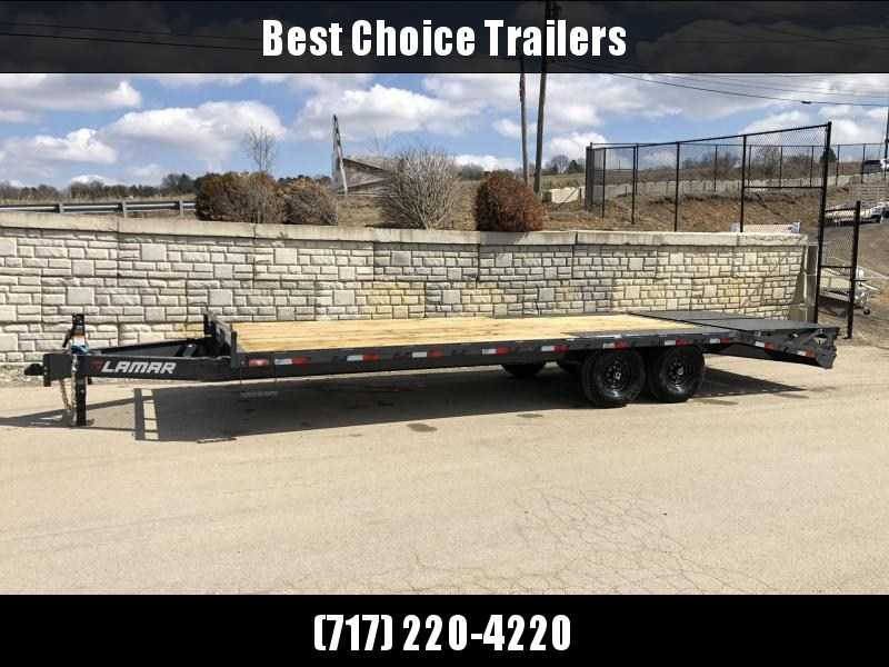 """2022 Lamar 102x22' Beavertail Deckover Trailer 14000# GVW * FULL WIDTH (FLIPOVER OR STAND UP) RAMPS + SPRING ASSIST  * CHARCOAL * TOOL TRAY * HD COUPLER * I-BEAM FRAME * 16"""" O.C. C/M * RUBRAIL/STAKE POCKETS/PIPE SPOOLS"""