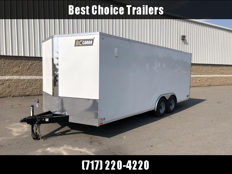 "2021 ITI Cargo 8.5x20 Enclosed Car Hauler Tler 9900# GVW * SILVER EXTERIOR * .030 SEMI-SCREWLESS * RV DOOR * 1 PC ROraiOF * 3/8"" WALLS * 3/4"" FLOOR * PLYWOOD * TRIPLE TUBE TONGUE * 6'6"" INTERIOR * 24"" STONEGUARD * HIGH GLOSS PAINTED FRAME * D-RINGS"