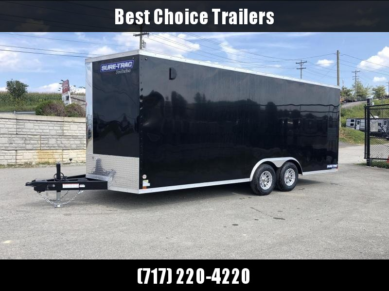 "2021 Sure-Trac 8.5x24' Enclosed Car Trailer 9900# GVW * BLACK * 7000# DROP LEG JACK * SCREWLESS * 48"" DOOR * ALUMINUM WHEELS"