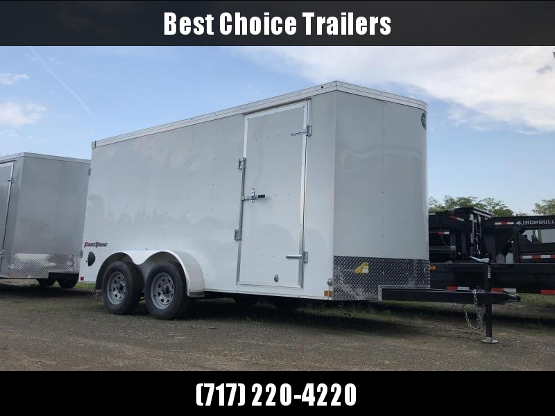 """2022 Wells Cargo 7x14' Fastrac Deluxe Enclosed Cargo Trailer 7000# GVW * WHITE EXTERIOR * BARN DOORS * V-NOSE * .030 EXTERIOR * 6'6"""" HEIGHT * TUBE STUDS * 3/8"""" WALLS * 1 PC ROOF * 16"""" O.C. WALLS * BULLET LED'S"""