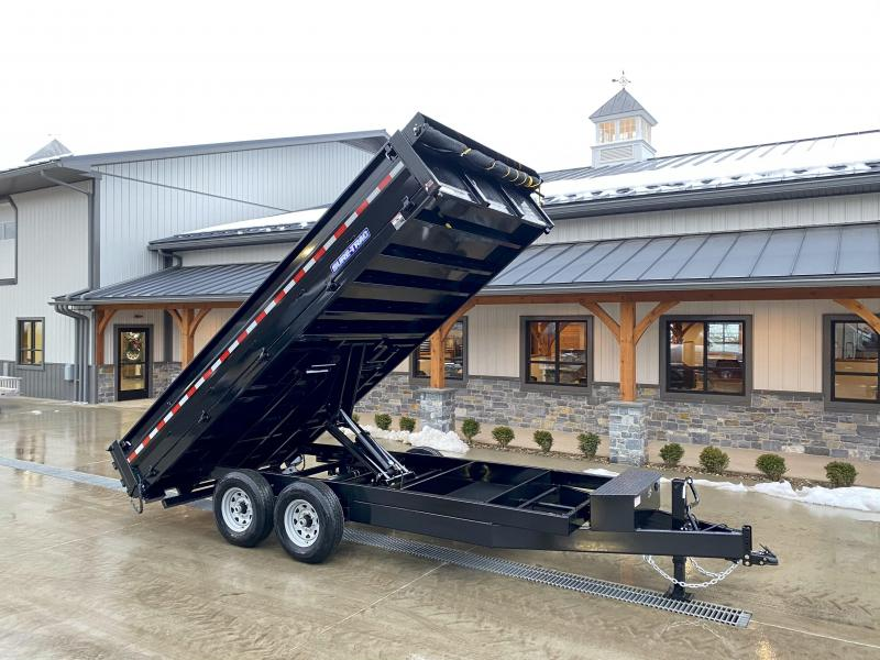 "2021 Sure-Trac 8x16' Deckover Dump Trailer 14000# GVW * 20"" FOLD DOWN SIDES * EXTENDED 90"" UNDERMOUNT RAMPS * OVERSIZE 8"" TUBE TONGUE/6"" HEAVY WALL FRAME * 12K JACK * 6"" SCISSOR HOIST * INTEGRATED KEYWAY * UNDERBODY TOOL TRAY"