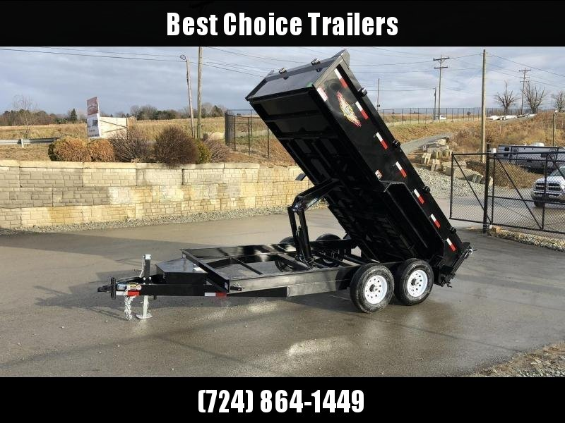 "2021 H&H 7x14' Low Profile Dump Trailer 16000# GVW * 8000# AXLES * 17.5"" TIRES * 7GA FLOOR UPGRADE * HYDRAULIC JACK * 4"" RAMPS * DELUXE TARP WITH SHROUD * 8"" FRAME * SCISSOR HOIST * COMBO GATE"
