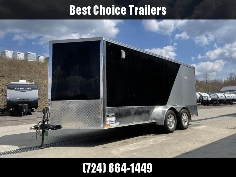 USED 2012 United 7x16' Enclosed Motorcycle Cargo Trailer 7000# GVW * FINISHED WALLS AND CEILING * TORSION * ALUMINUM WHEELS * SCREWLESS * 2-TONE