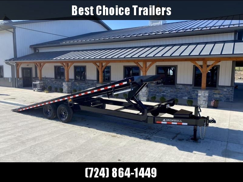 "2021 Ironbull 102""x24' Deckover Power Tilt Trailer 14000# GVW * SCISSOR HOIST * WINCH PLATE * ADJUSTABLE COUPLER * 12K DROP LEG JACK * RUBRAIL/STAKE POCKETS/PIPE SPOOL/D-RINGS * LED LIGHTS"