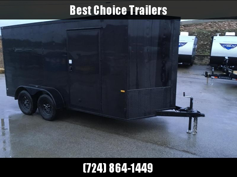 2021 Rock Solid Cargo 7x16' Enclosed Cargo Trailer 7000# GVW *  BLACKOUT EXTERIOR * RAMP DOOR * RV DOOR * 16IN O.C. C/M * TUBE STUDS * PLYWOOD WALLS AND FLOOR