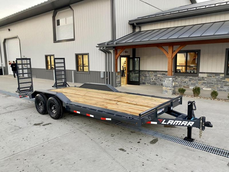 "2021 Lamar 102x20' Equipment Trailer 14000# GVW * DELUXE RAMPS * CHARCOAL * 102"" DECK * DRIVE OVER FENDERS * CHARCOAL * D-RINGS"