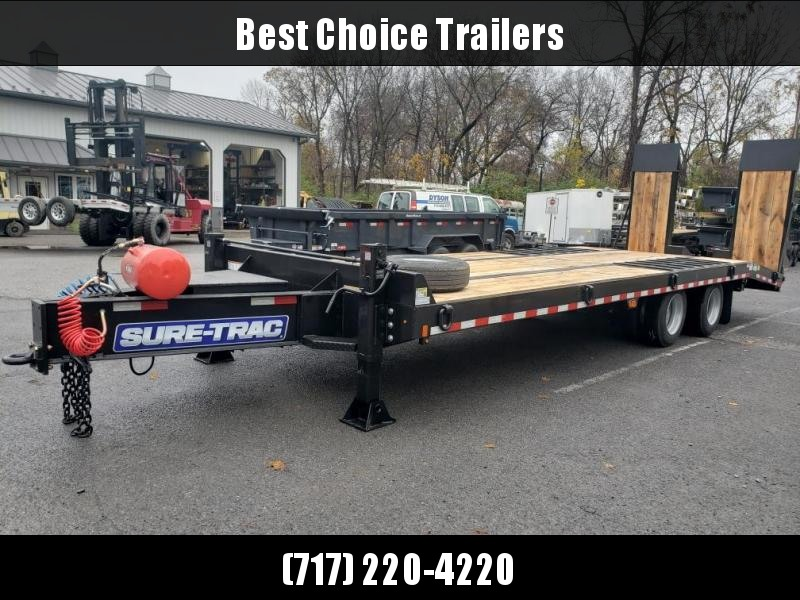 "2020 Sure Trac 102x27' Air Brake Beavertail Deckover Trailer 49000# GVW * 30X80 WOOD FILLED AIR RAMPS * 14"" PIERCED I-BEAM FRAME * 17.5"" 16-PLY * 2"" OAK DECK * HUTCH 9700 SUSPENSION * DUAL 50K 2-SP JACKS * TOOLBOX * (12) 1"" D-RINGS * CLEARANCE"