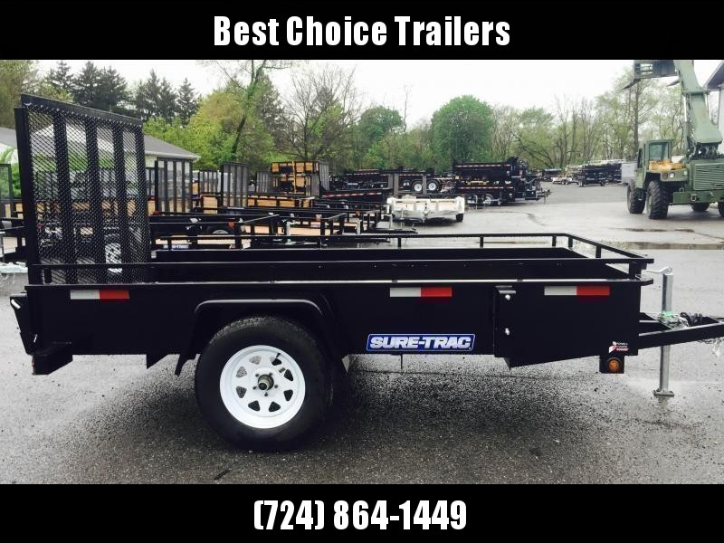 """2022 Sure-Trac 6x10' Solid Side Utility Landscape Trailer 2990# GVW * 2X2"""" TUBE GATE C/M + SPRING ASSIST * FOLD FLAT GATE * TOOLESS GATE REMOVAL * SPARE MOUNT * PROTECTED WIRING * SET BACK JACK * TRIPLE TUBE TONGUE * HD FENDERS * TUBE BUMPER * HIGH SIDE"""