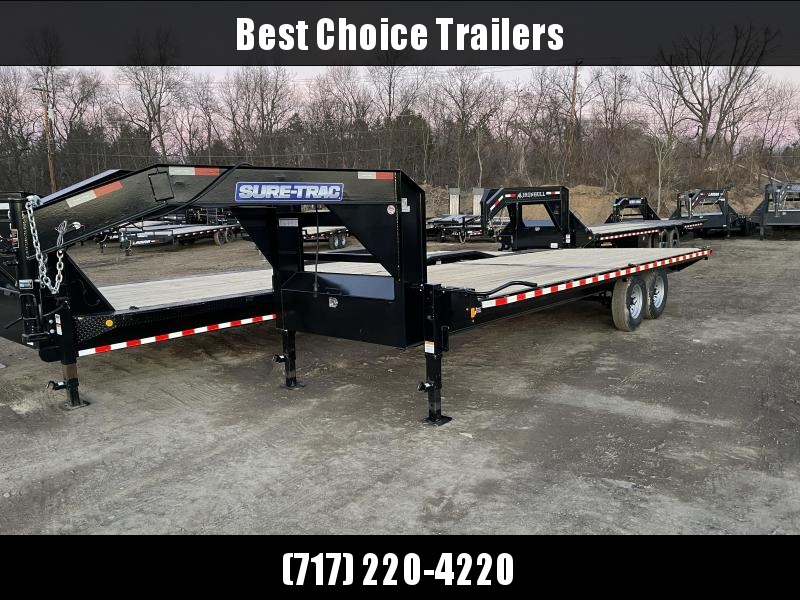 2021 Sure-Trac 102x22 Gooseneck Deckover Flatbed Trailer 15000# GVW * STRAIGHT DECK * I-BEAM MAINFRAME & NECK * CHANNEL SIDE RAIL * RUBRAIL/STAKE POCKETS/D-RINGS * GOOSEENCK COUPLER * DUAL 12K DROP LEG JACKS * FULL FRONT TOOLBOX * CLEARANCE