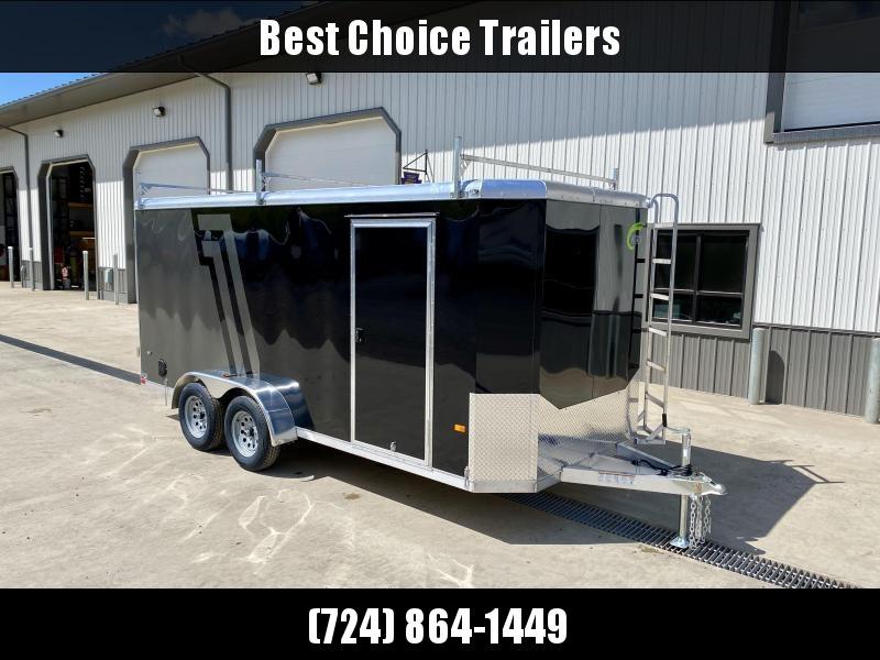 "2021 NEO 7x16' NAC Aluminum Bullnose Enclosed Cargo Trailer * JD SLASH 2-TONE * LADDER RACKS AND ACCESS LADDER * BLACK AND SILVER * ALUMINUM WHEELS * 16"" O.C. WALLS/CEILING * BARN DOORS"