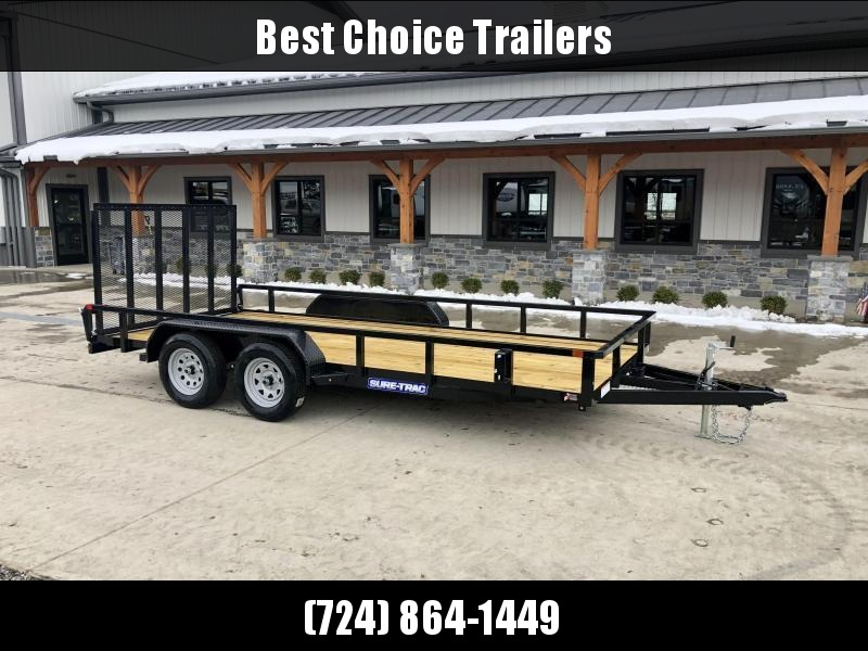 """2022 Sure-Trac 7x16' Tube Top Utility Landscape Trailer 7000# GVW * 2"""" TUBE TOP RAIL * 2X2"""" TUBE GATE C/M + SPRING ASSIST + FOLD FLAT * TOOLESS GATE REMOVAL * SPARE MOUNT * PROTECTED WIRING * SET BACK JACK * TRIPLE TUBE TONGUE * STAKE POCKETS * BULLET LED"""