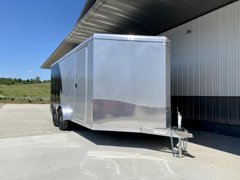 "2020 Neo 7.5x16' NAMR Aluminum Enclosed Motorcycle Trailer * NUDO FLOORS * VINYL WALLS * ALUMINUM WHEELS * +6"" HEIGHT * SILVER + BLACK * LOADING LIGHT * TORSION SUSPENSION * OVERHEAD CABINET"