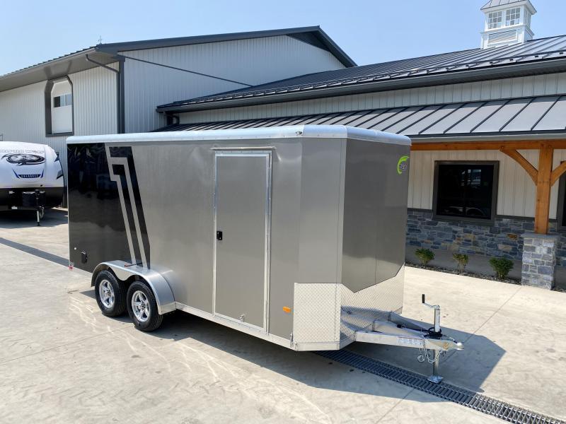 "2021 NEO 7x16' NAC Aluminum Bullnose Enclosed Cargo Trailer  * 7' HEIGHT UPG * JD SLASH 2-TONE * BLACK AND PEWTER * 16"" O.C. FLOOR * RAMP DOOR * ALUMINUM WHEELS * 16"" O.C. WALLS/CEILING"