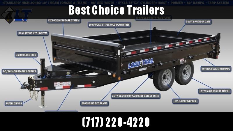 "2021 Load Trail 8x16' Deckover Dump Trailer 14000# GVW * 10"" I-BEAM FRAME * TARP KIT * SCISSOR HOIST * FOLD DOWN SIDES * 3-WAY GATE * 12K JACK * 6"" TUBE BED FRAME * 110V CHARGER * 10GA SIDES/FLOOR * INTEGRATED KEYWAY * POWDER PRIMER * DEXTER'S"