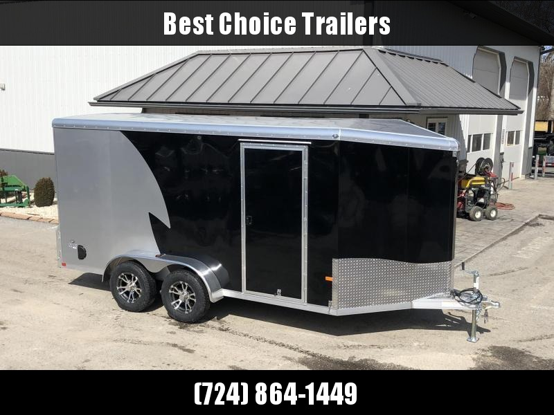 """2021 NEO Trailers 7x14' NAMR Aluminum Enclosed Motorcycle Trailer * BLACK+SILVER * VINYL WALLS * ALUMINUM WHEELS * +6"""" HEIGHT * 2-TONE * INTEGRATED FRAME * TIE DOWN SYSTEM"""