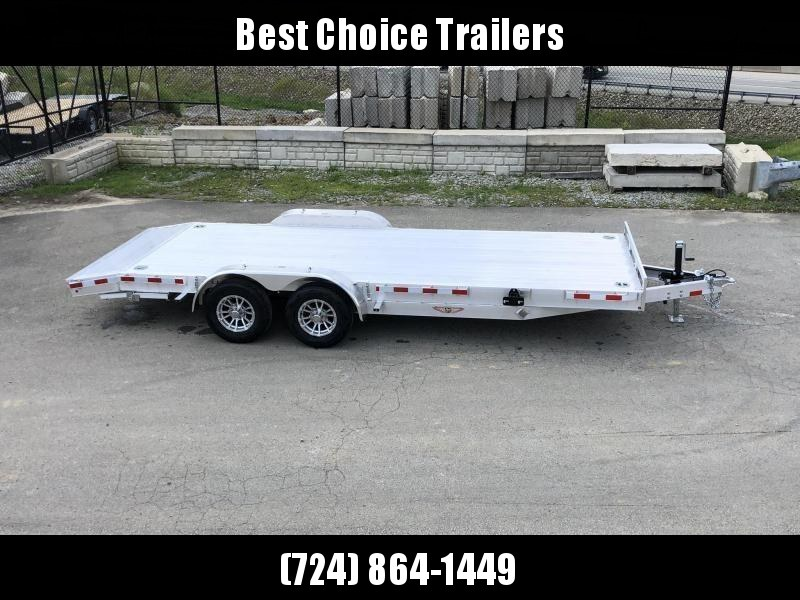 """2021 H and H 7x20' Deluxe Aluminum Car Hauler Trailer 9990# GVW * EXTRUDED ALUMINUM FLOOR * TORSION AXLES * SWIVEL D-RINGS * EXTRA STAKE POCKETS * HEAVY DUTY 8"""" FRAME * DROP LEG JACK * ALUMINUM WHEELS * REMOVABLE FENDERS * CHANNEL C/M"""